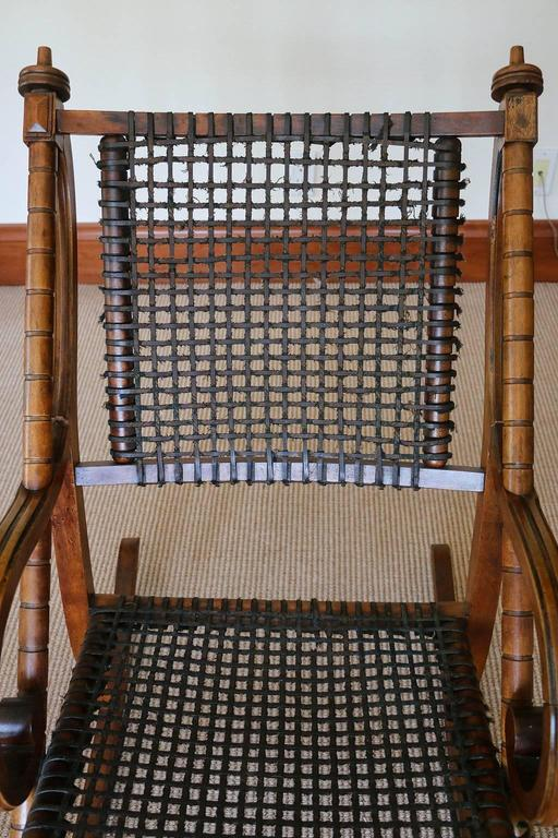 19th Century Rare George Hunzinger Rocking Chair with Patented Steel Webbing, 1869 For Sale