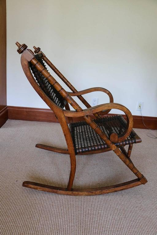 Rare George Hunzinger Rocking Chair with Patented Steel Webbing, 1869 For Sale 1