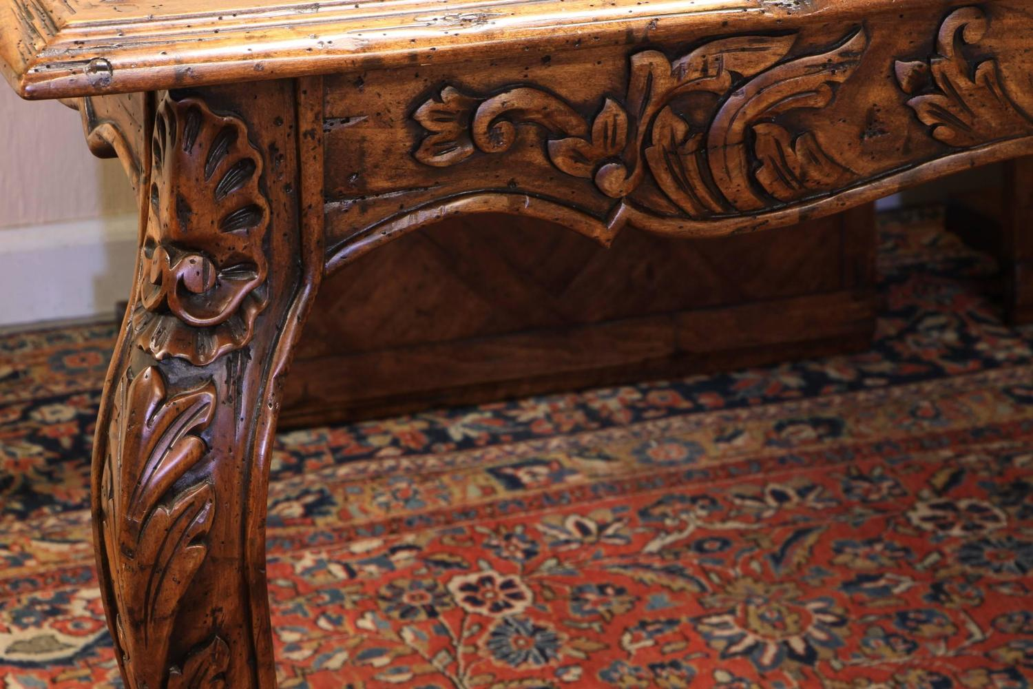 Marquetry Top French Provincial Style Dining Table By Guy Chaddock At
