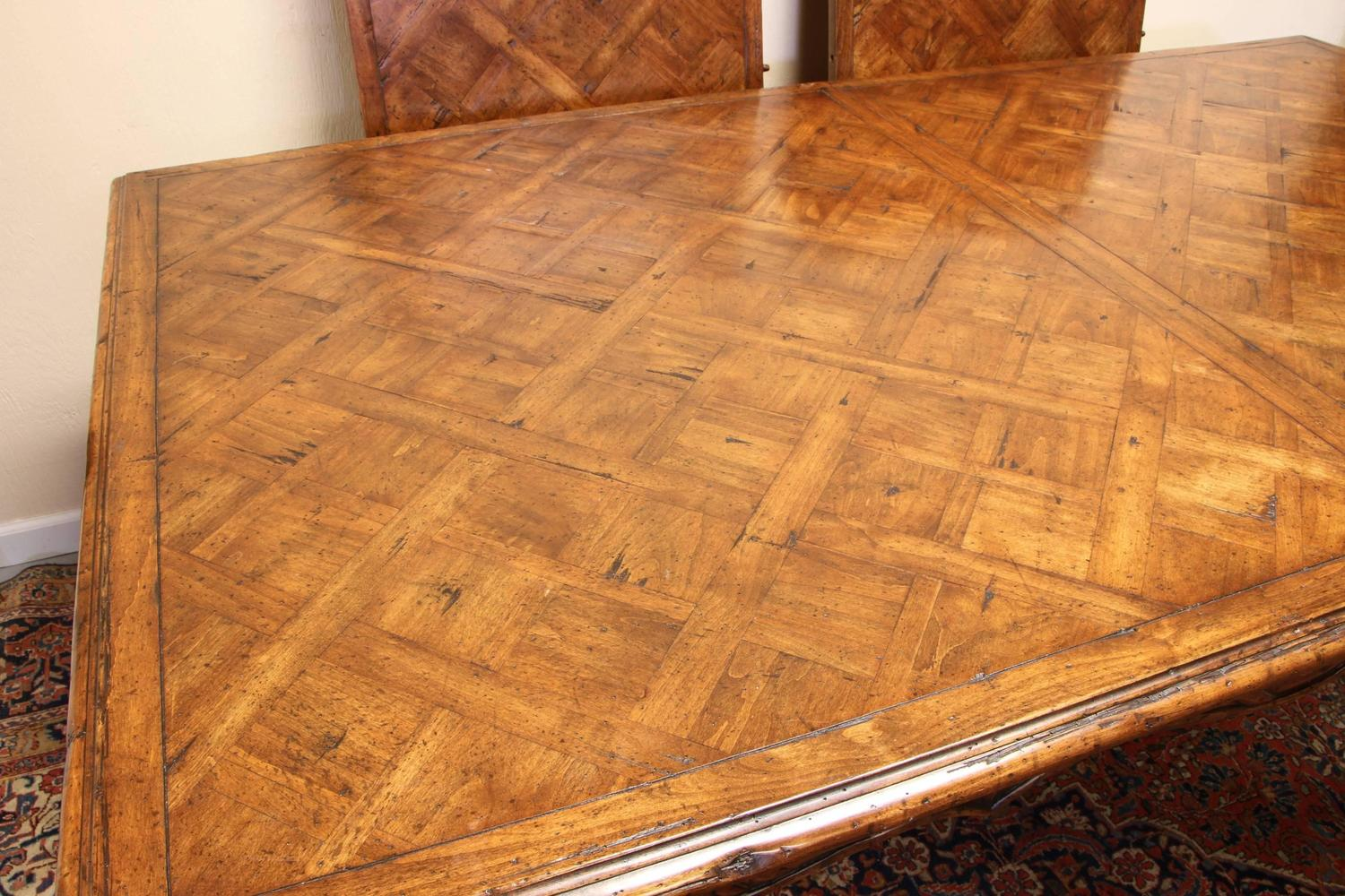Marquetry Top French Provincial Style Dining Table By Guy