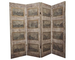 Beautiful Four-Panel Fabric Screen with Venetian Engraving Scenes