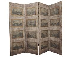 Beautiful Four-Panel Fabric Screen with Venetian Engraving Scenes