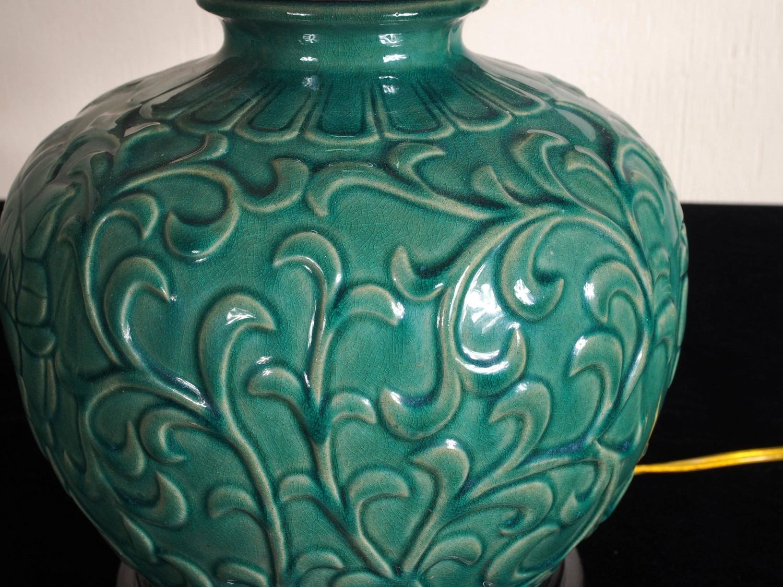 Salt Rock Lamp Green Earth : Green Salt Glazed Embossed Lamp For Sale at 1stdibs