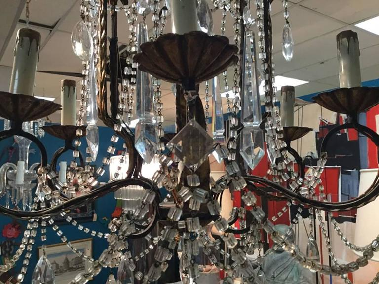 Mid-Century Six-Arm Foliate Crystal and Beaded Chandelier In Excellent Condition For Sale In Bridgeport, CT