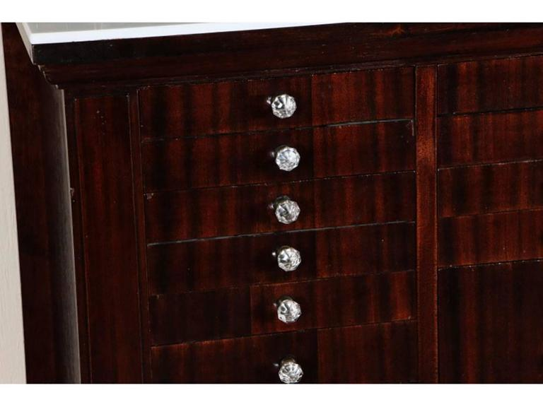 Antique Mahogany Industrial Era Work Cabinet with Opaline Glass Top In Excellent Condition For Sale In Bridgeport, CT