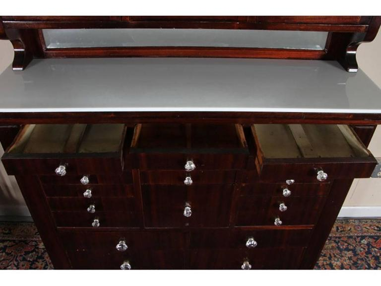 19th Century Antique Mahogany Industrial Era Work Cabinet with Opaline Glass Top For Sale