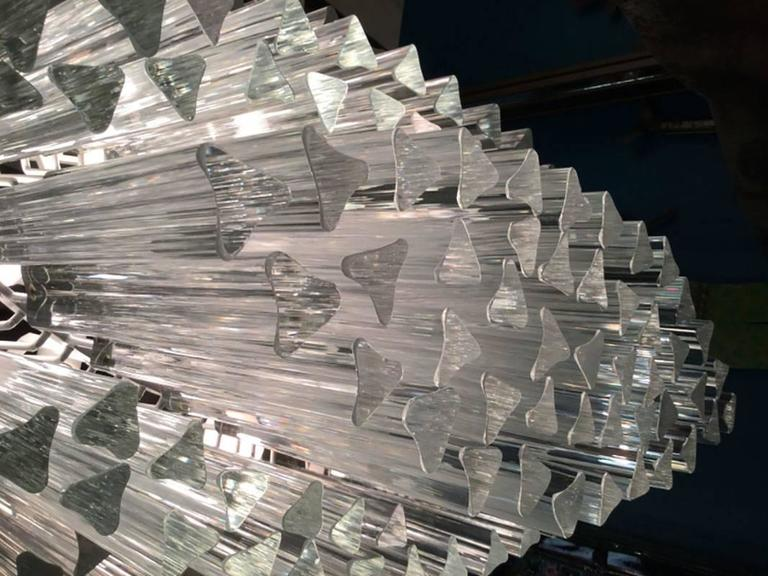 Vintage 1960s-1970s, Camer chandelier with outstanding massive size, star-shaped Murano glass rods hanging from a white tubular frame. Measures: Prisms are 8