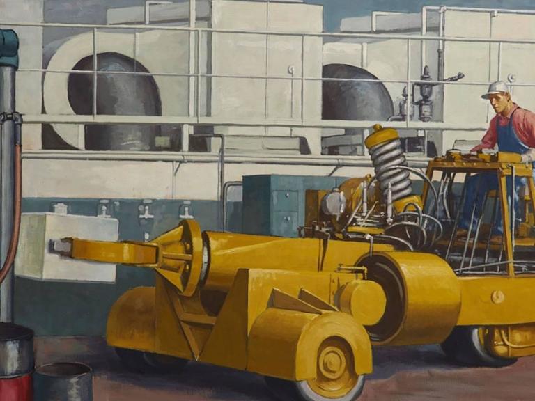 20th Century Robert Lynn Lambdin Bridgeport Brass Murals, Nine Panels
