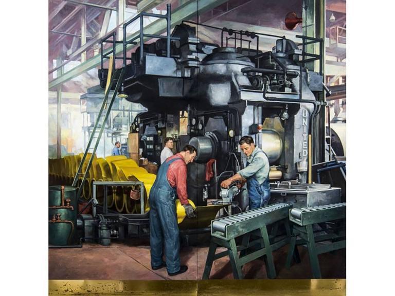 American Robert Lynn Lambdin Bridgeport Brass Murals, Nine Panels