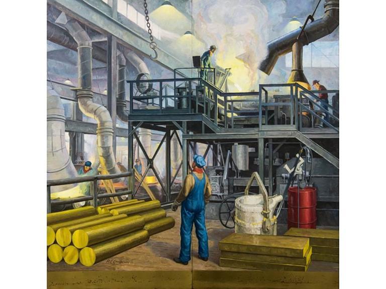 Industrial Robert Lynn Lambdin Bridgeport Brass Murals, Nine Panels