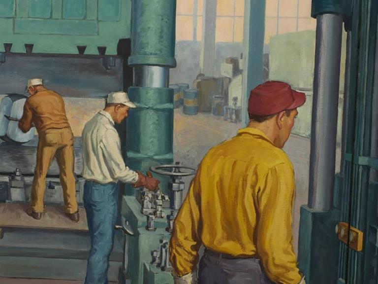 Robert Lynn Lambdin Bridgeport Brass Murals, Nine Panels 1