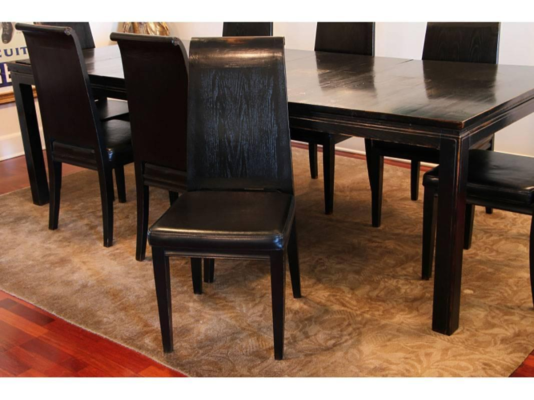 Asian Style Black Lacquered Elmwood Dining Table and