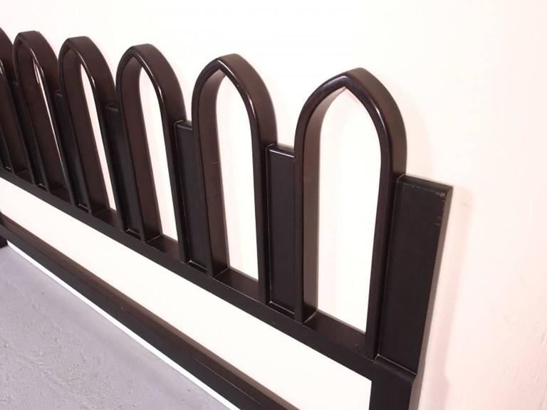 Harvey Probber designed kind-sized headboard in a picket fence design. Black lacquer finish. In very good condition.