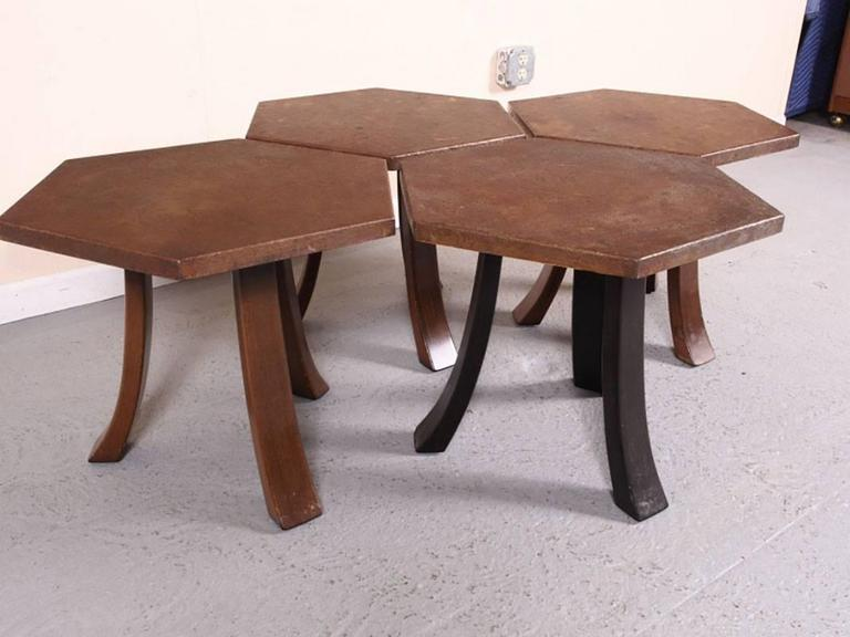 American Suite of Four Hexagonal Tables by Harvey Probber For Sale