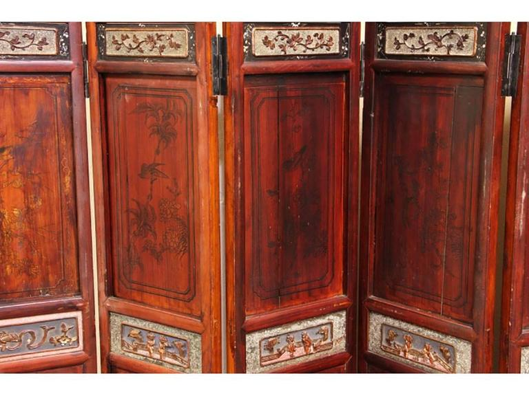 19th Century Antique Chinese Eight-Panel Screen