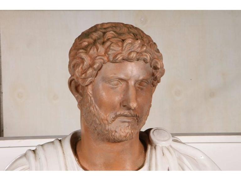 20th Century Italian Terracotta Bust of a Decorated Emperor with White Glazed Robe For Sale