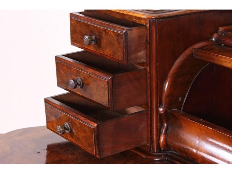 Antique Burl Secretary Desk On Casters For Sale At 1stdibs