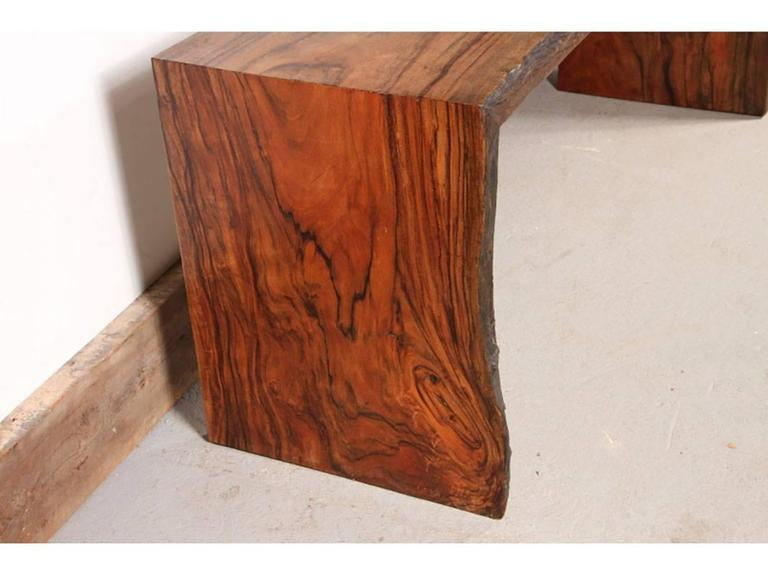 Monolithic And Very Powerful Solid Console Table Made From Select Walnut,  Single Board Live Edge
