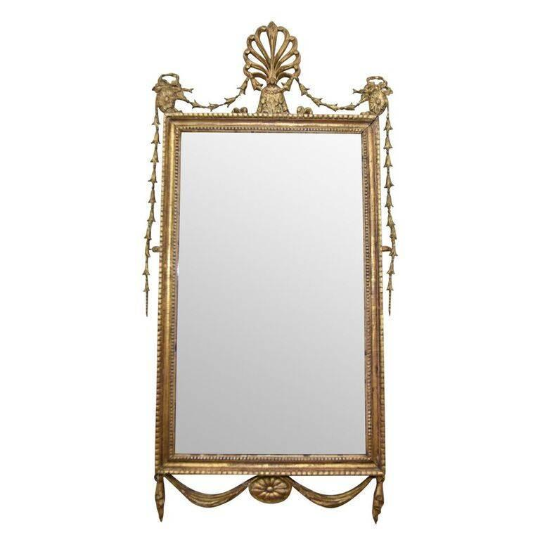 Antique adam style giltwood wall mirror at 1stdibs for Antique style wall mirror