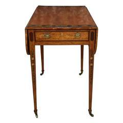 George III Satinwood Painted Pembroke Drop-Leaf Table