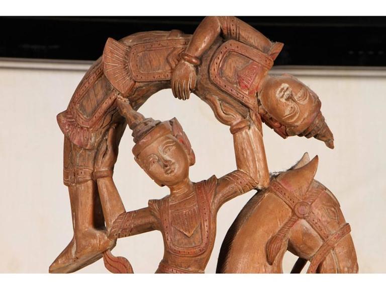 Tribal Carved Indonesian Sculpture on Plinth Base For Sale