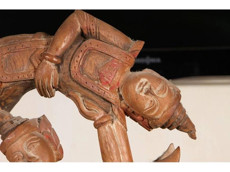 Carved Indonesian Sculpture on Plinth Base For Sale 1