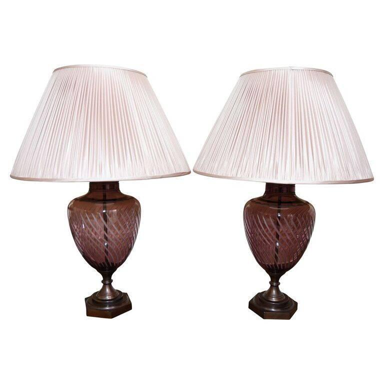 large urn amethyst spiral cut english crystal lamps pair. Black Bedroom Furniture Sets. Home Design Ideas