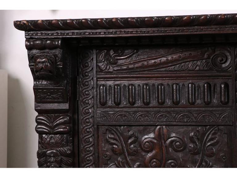 Large Antique Heavily Carved Antique Jacobean Style