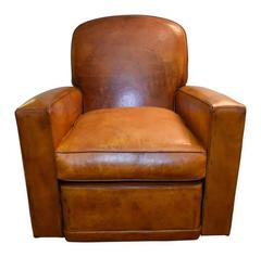 Art Deco French Leather Club Chair