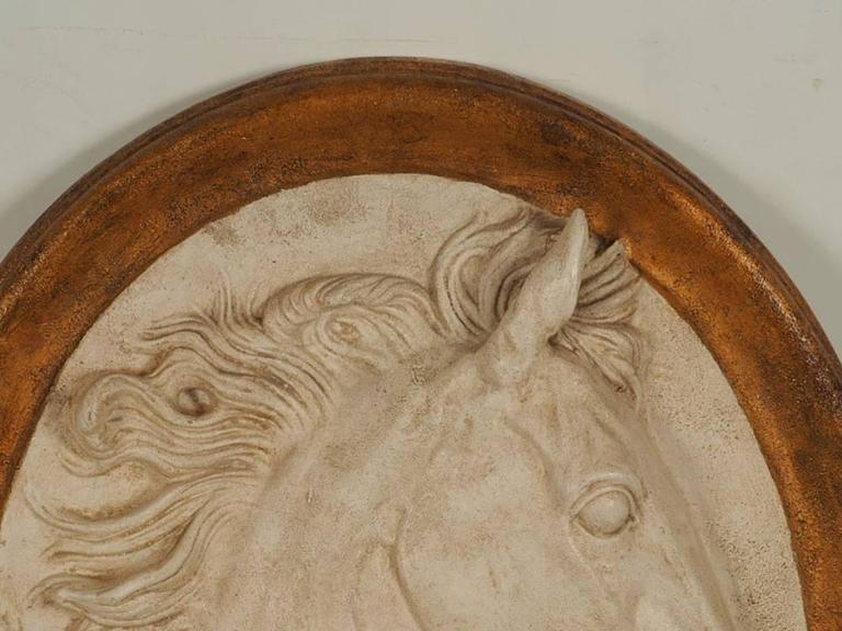 Italian Impressive Paolo Marioni Ceramiche D'arte Relief Horse Plaque For Sale