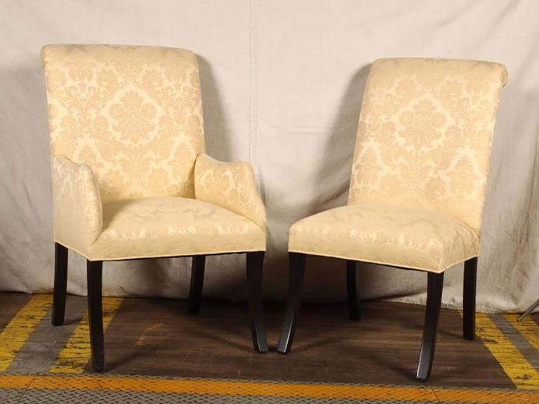Mid-Century Modern Set of Eight Quality Hollywood Regency Dining Chairs For Sale