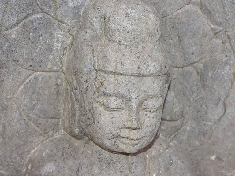 Oriental Carved Stone Buddhist Stele For Sale 1