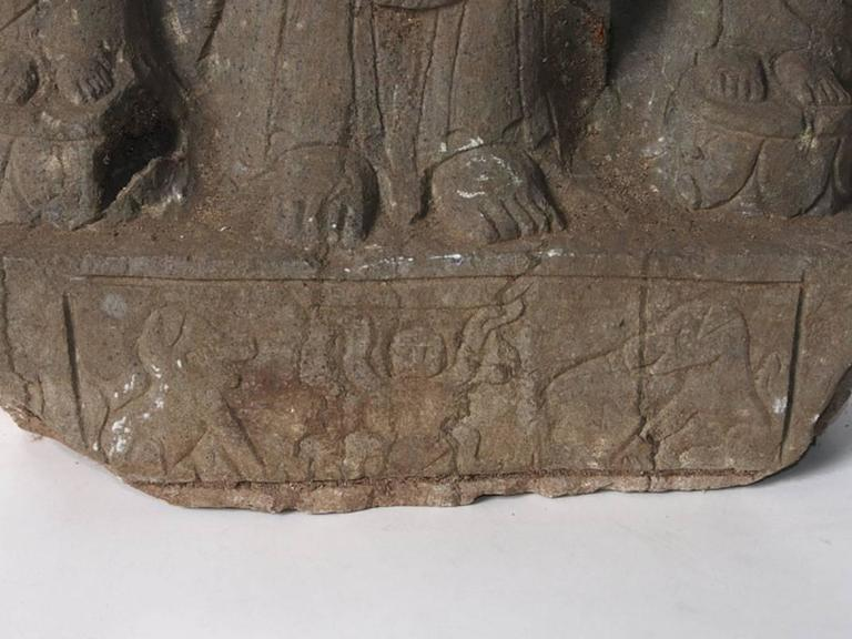 20th Century Oriental Carved Stone Buddhist Stele For Sale