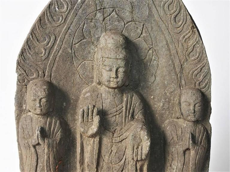 Oriental Carved Stone Buddhist Stele In Good Condition For Sale In Bridgeport, CT