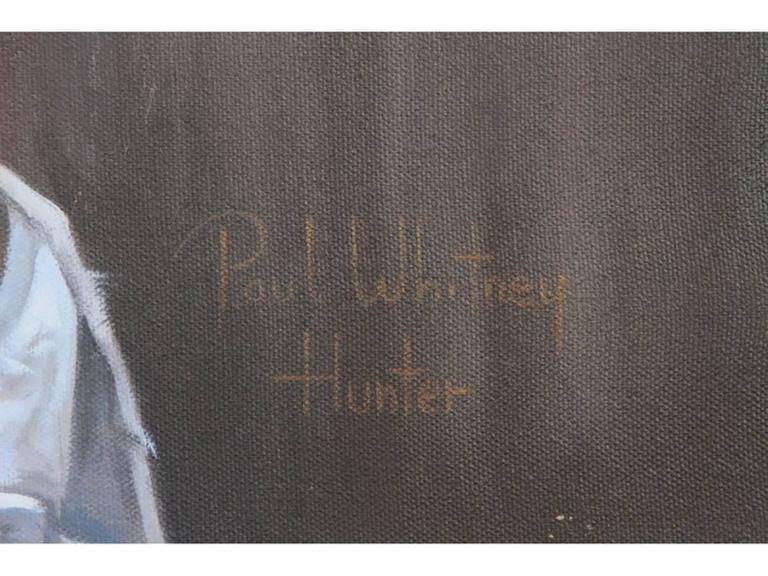 Framed in a rustic wood frame with linen mat. Signed under Alias Paul Whitney Hunter.
