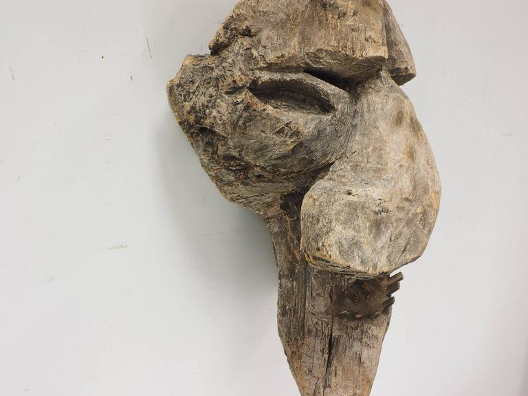 An asymmetrical face with holes above the eyes and added carved bamboo teeth. Hollow carved back with loop for suspension. Condition: weathered, one tooth split.