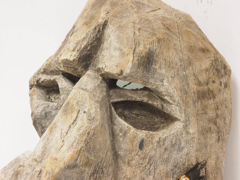 Primitive Carved Tree Fern Wood Mask For Sale 1