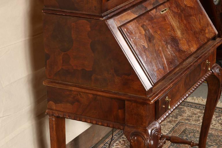 Vintage Burl Wood Secretary Bookcase By American Of