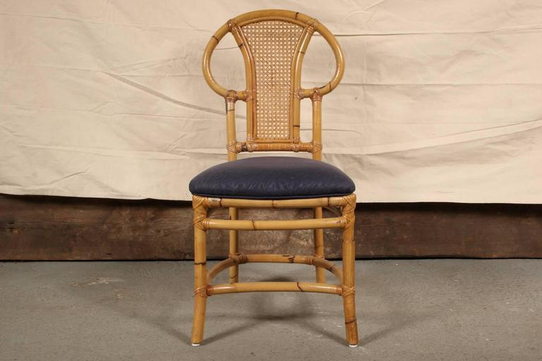Mid-Century Modern Rattan Table and Chair Set by Willow and Reed For Sale