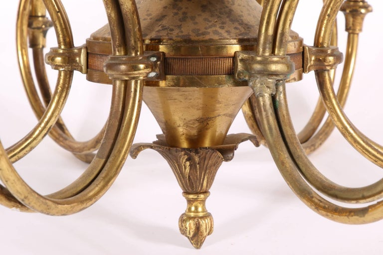 20th Century Vintage Solid Brass Six-Light French Horn Chandelier For Sale