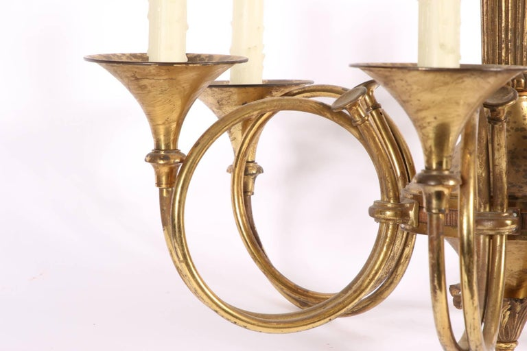Vintage Solid Brass Six-Light French Horn Chandelier For Sale 1
