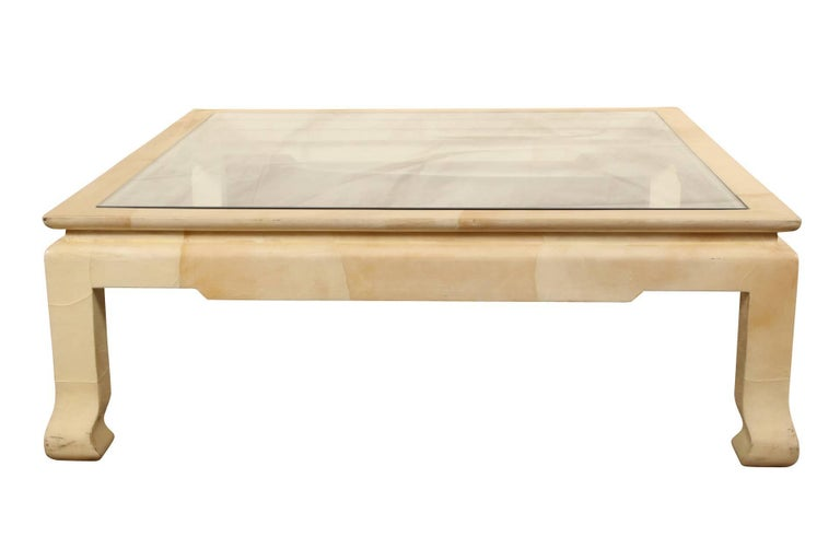 Lacquered Goatskin Coffee Table/ Manner of Karl Springer