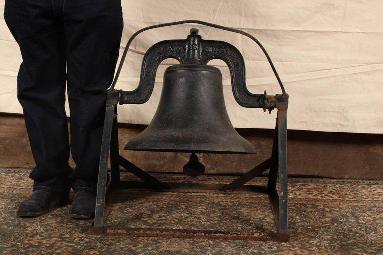 American Antique C.S. Bell & Co. Cast Iron Bell on Stand For Sale