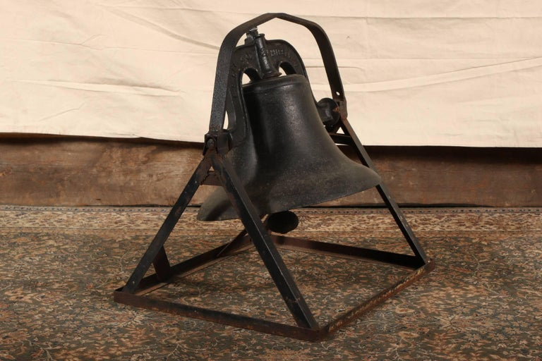 Antique C.S. Bell & Co. Cast Iron Bell on Stand For Sale 1