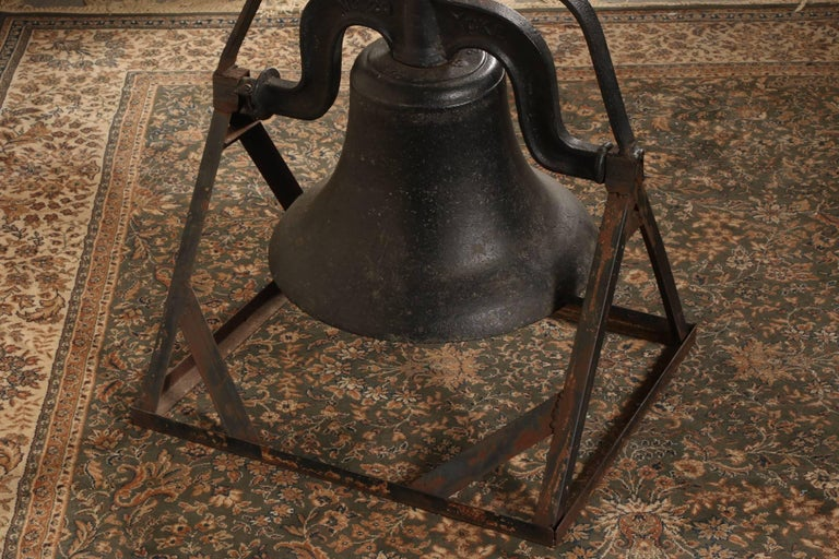 Antique C.S. Bell & Co. Cast Iron Bell on Stand 9