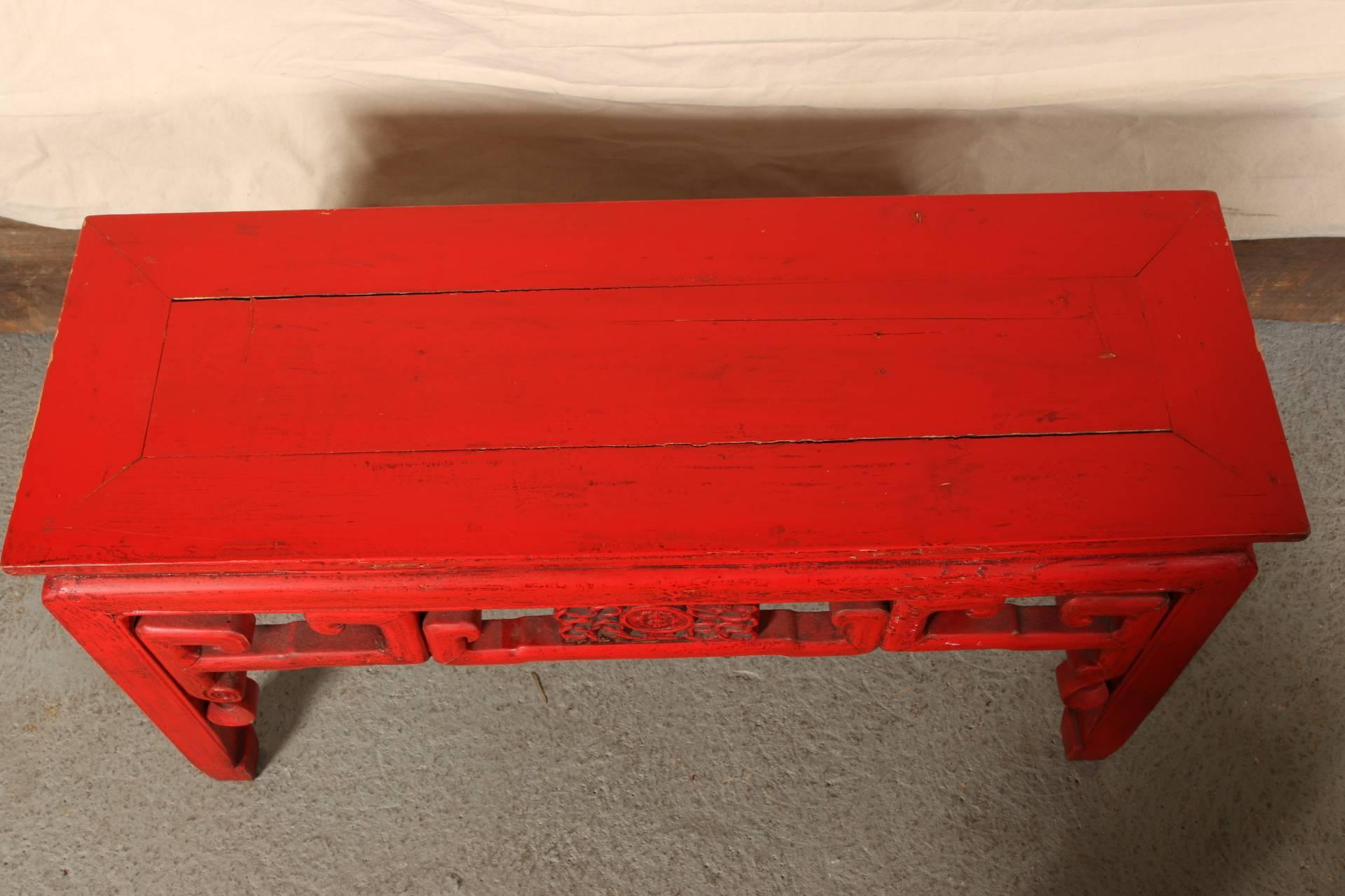 Chinese Red Lacquered Console Table at 1stdibs