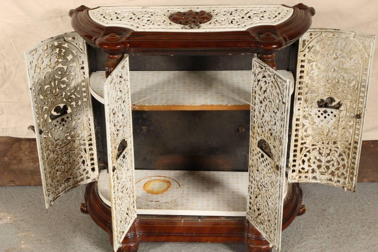 Antique French Enamel Cast Iron Room Heating Stove