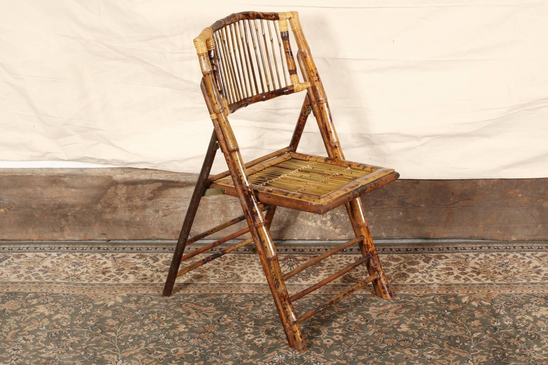 Mid Century Modern Set Of Four Vintage Bamboo Folding Chairs For Sale