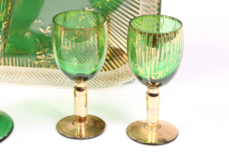 Glass Vintage Colored Crystal Cordial Set with Tray For Sale