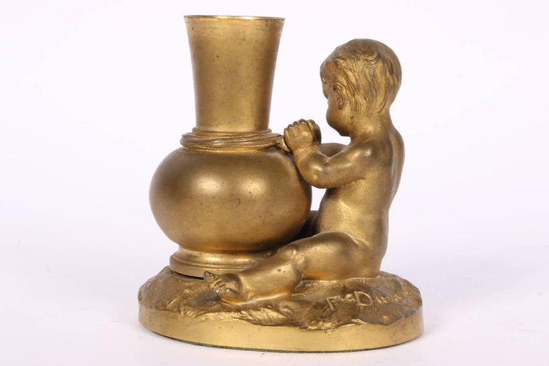Antique French Bronze Figural Bud Vase by F. Durand In Good Condition For Sale In Bridgeport, CT